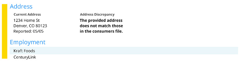 Example of Applicant address in SmartMove credit report